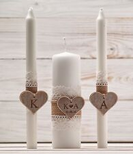 Wedding Unity Candle Set Rustic Candle Church Ceremony Set Personalized Wedding