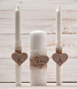 Wedding Unity Candle Set Rustic Candle Church Ceremony Set Personalized Wedding