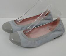 PRETTY BALLERINAS Pale Grey Suede Patent Leather Ballerinas Pump Shoes EU39 UK6