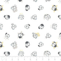 Disney 101 Dalmatians Puppy dogs Faces in White 100% Cotton fabric by the yard