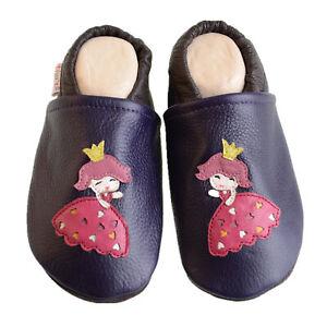 Liya's Krabbelpuschen Lederpuschen Hausschuhe - #573 Prinzessin in Purpurviolett