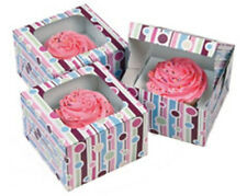 Wilton 6 Bubble Stripes Single Cupcake Boxes 415-116 Clear Window Purple Pink