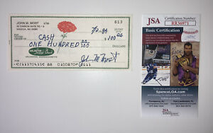 Johnny Most Signed Twice Check JSA Boston Celtics Larry Bird Bill Russell Era