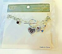 NEW Beautiful Silver/Red Bracelet Angel & Heart Charms