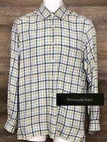Ermenegildo Zegna Z Men's Cotton Cashmere Multi-Color Plaid Long Sleeve Shirt S