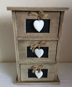 Sass & Belle Wooden Drawers With Blackboard & Hearts Trinket Box Rustic
