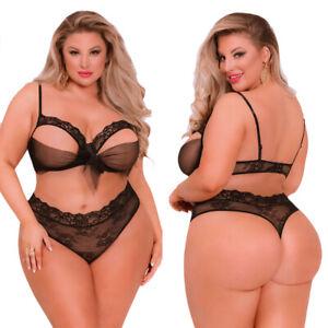 Plus Size Women Sexy Lingerie Set Lace Peephole Underwear Bra Thong Sleepwear