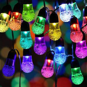 10-30LED Solar String Light Waterproof Bubble Globe Lamp Outdoor Garden Wedding