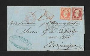 FRANCE TO PERU AREQUIPA NAPOLEON 40+80Cts COVER 1859