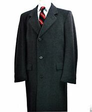 Wool & Cashmere UK Overcoat 40 Med Hammersley Grey Chesterfield Coat Full Length