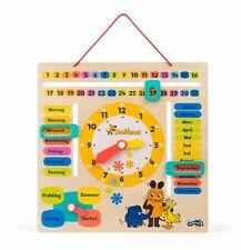 Die Maus Lerntafel Datum, Uhr- & Jahreszeiten Lernspiel aus Holz für Kinder Neu