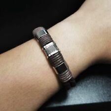 Men Bracelet Retro Braided Magnetic Clasp Bangle 1pc Leather Brown Black Vintage