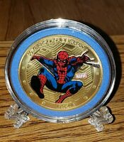 AVENGERS SPIDER-MAN GOLD PLATED  COMMEMORATIVE COIN 40mm! MINT! BRAND NEW!