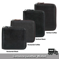 Mens Zip Around Real Leather Bifold Multi Card ID Pocket Wallet Purse Coin Pouch
