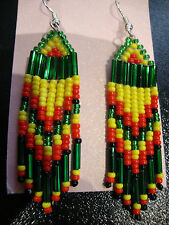 Native American Style Beaded Earings Jewellery Rasta Colours Handmade UK Fringed