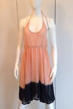 TOP SHOP PEACH AND BLACK NET HALTER NECK BIKINI COVER UP LARGE 12-14