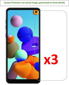 3x Samsung Galaxy A21 Screen Protector w/ cloth