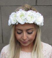 Cream Rose Flower Headband Garland Boho Hair Crown Elastic Festival Stretch 4935