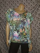 H&M Green Pink Floral Boat Neck Cap Sleeve Top Blouse Shirt Womens SMALL USED