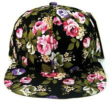 HAWAIIAN PRINT SNAPBACK HAT CAP FLAT BILL FLORAL FRESH PRINCE BLACK PINK FLOWERS