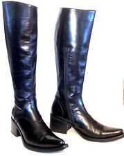 gianni barbato ITALY Womens Sz. 37/7 US BLK. Leather,Slim,Knee length Pointed to