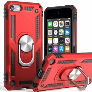For iPod Touch 5th 6th & 7th Gen -Hard Hybrid Magnetic Ring Kickstand Armor Case