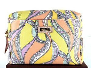 EMILIO PUCCI Multi Color Canvas & Pink Leather Mini Pouch Hand Purse Italy Good
