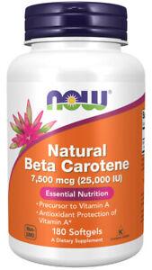 Now Foods, Natural Beta Carotene, 7500mcg (25000 IU), 180 Weichkapseln
