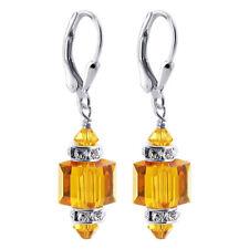 Sterling Silver Made with Swarovski Elements Orange Crystal Drop Earrings