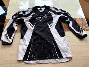 Fox Motocross Mountain Bike Used Racing Riding Jersey Medium Black and White