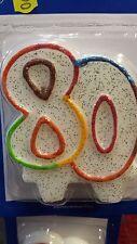 candeline 80 anni cm.8 colorate glitter compleanni  torte auguri feste e party