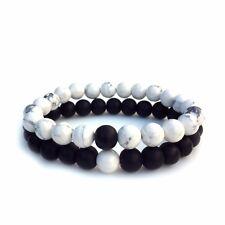 His n Hers Bracelets, Howlite Bracelet, Agate Bead, Gift for Men, Gift for Her