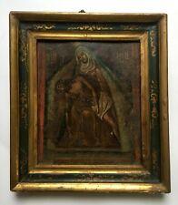 Tableau religieux ancien, Huile sur zinc, Ecole espagnole, XVIIIe ou avant?