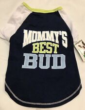 """New listing Simply Dog T Shirt""""Mommy's Best Bud""""Xxs Tee Blue Baseball Lime Mother's Day Gift"""
