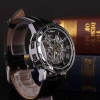 Men's Skeleton Transparent Mechanical Stainless Steel Leather Sport Wrist Watch