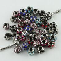 Czech Crystal Tibetan Silver Round Ball Charm Beads for European Bracelet Making