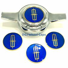 Lincoln Blue On Gold Lowrider Wire Wheel Metal Chips Emblems Size 2.25