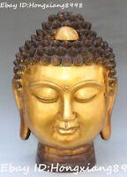 """15""""Chinese Bronze Gilt Buddhism Shakyamuni Sakyamuni Amitabha Buddha Head Statue"""