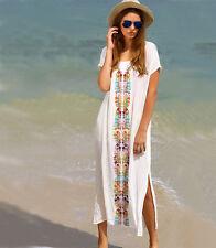 Boho Women Summer Beach Dress Maxi Embroidery Kaftan Bikini Cover Up Sundress