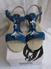 NIB Nine West Talea Women's Light Blue Suede Flat Jeweled Sandal Size 8 1/2 Med