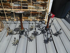 Vintage Mid Century 1950's Wrought Iron & Wood 5 Arm Chandelier pair~ FREE SHIP~