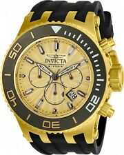 Invicta Men's 52mm Subaqua Specialty Chronograph Gold Dial 18k Gold IP SS Watch