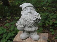 "10"" Tall Cement Gnome Elf w/Flowers Flower Bouquet Garden Statue Concrete Date?"
