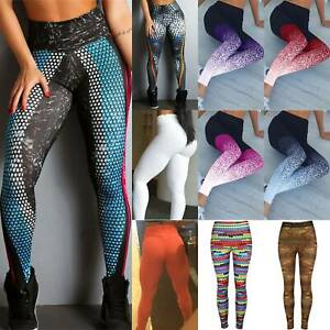Womens High Waisted Gym Yoga Pants Sports Fitness Printed Legging Trouser Casual