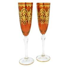 GlassOfVenice Set of Two Murano Glass Champagne Flutes 24K Gold Leaf - Red