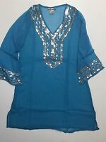 Women's Turquoise Semi Sheer Sequins Pool Beach Swimsuit Cover-up S-M-L-XL NWT.