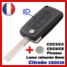 Boîtier de Coque Clé CITROEN C1/C2/C3/C4/C5/C8 Picasso/Bouton Phare CE0536 +Pile