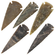 Medieval Flint Agate Pre-Historic Mosaic Scale Arrowhead 5 Piece Set 3 Inch
