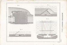 ARCHITETTURA IDRAULICA CHIUSA (3) INCISIONE STAMPA RAME 1866 TAVOLA ORIGINALE