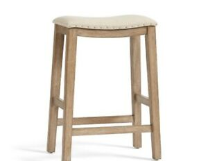 Pottery Barn Selma Counter Height Bar Stool, Weathered Gray